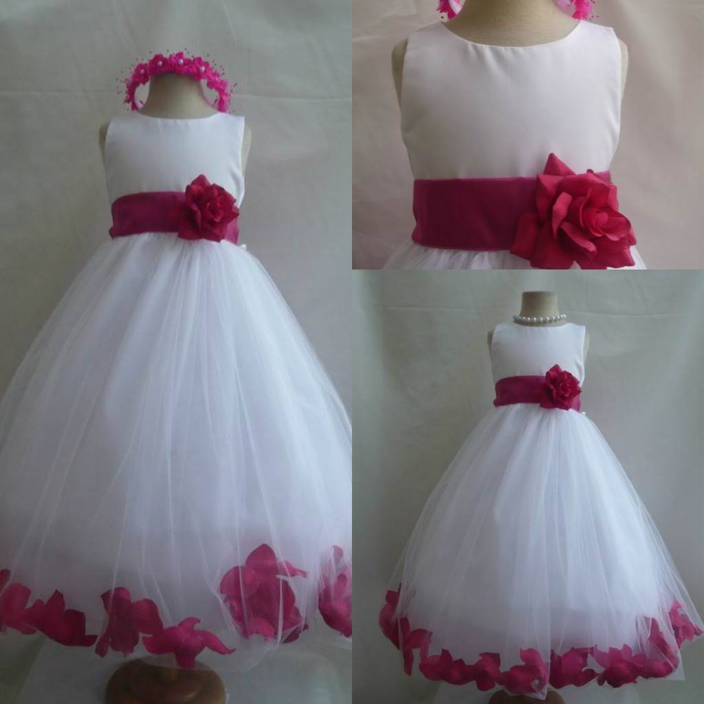 Real Picture High Quality Bow Sash Jewel White Tulle Flower girl Dress
