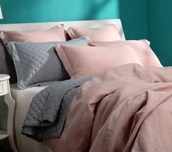 Pale pink pre-washed linen bedding set BL-022