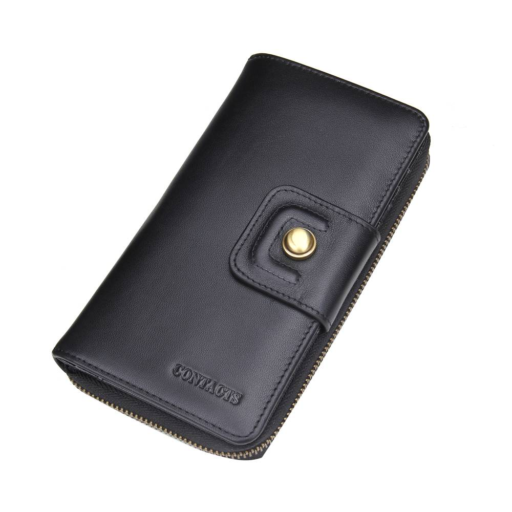 wholesale genuiine leather large clutch for men business wallet case bag black coffee