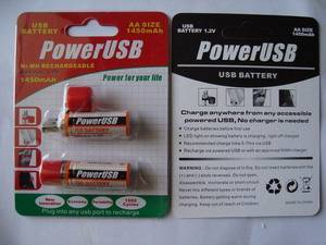 USB-AA rechargeable battery