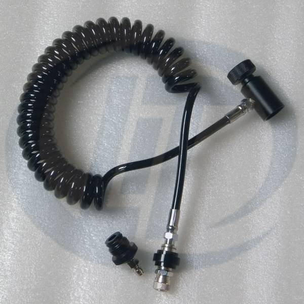 Paintball Coiled Remote Hose with slide check