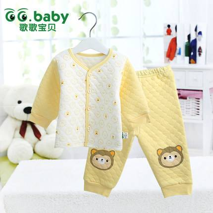 2015 Cotton Autumn Winter Baby Clothing Set Cartoon Animal Babies Suits Warm Tops+Pants Infant Newbo