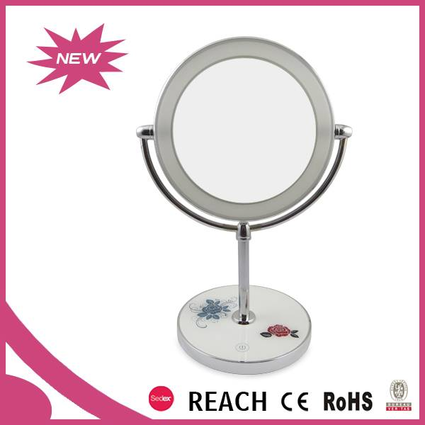 Cosmetic mirror, LED lights controlled by a built-in timer automatically and touch sensor manually