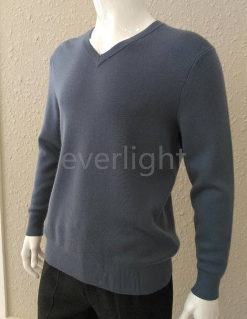 the General sweater --men pure cashmere v-neck flat knitted grey pullover thick sweater in winter
