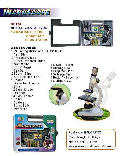metal kids microscope set