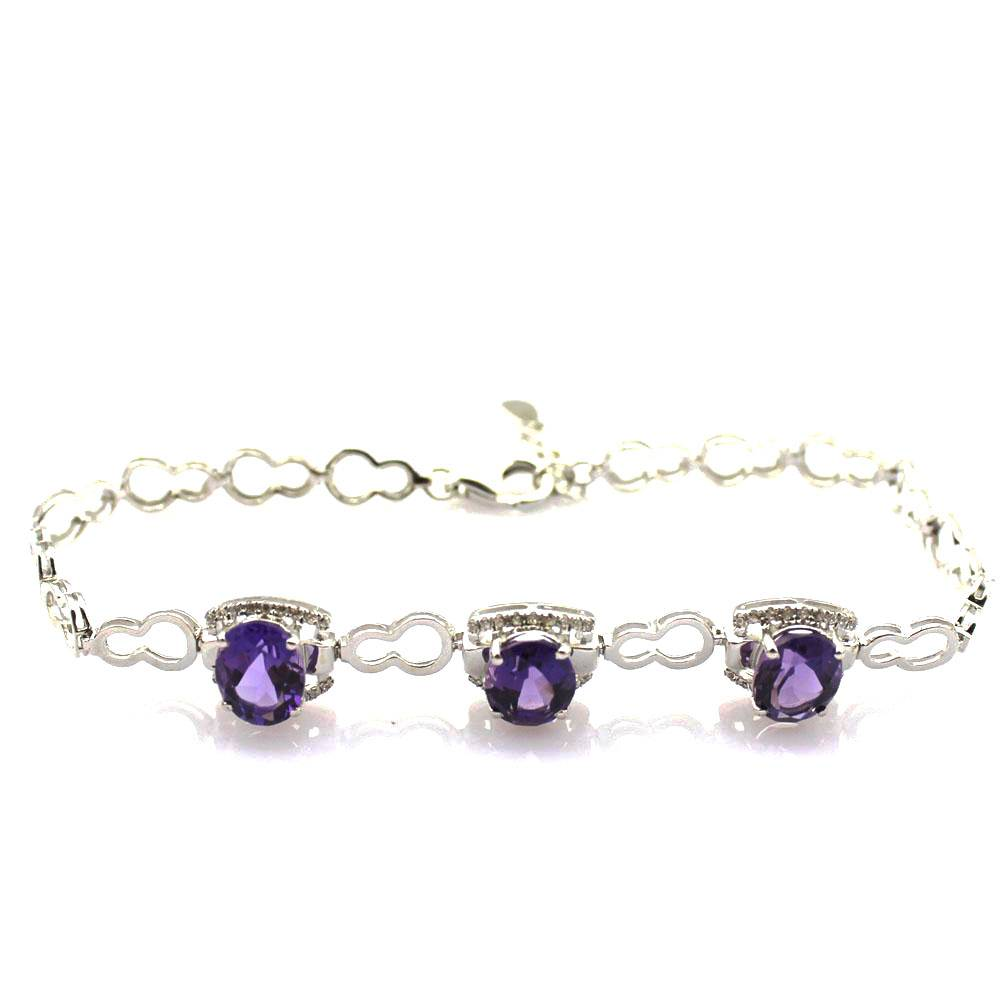 sterling silver jewelry 925 silver amethyt link chain bracelet (H02)