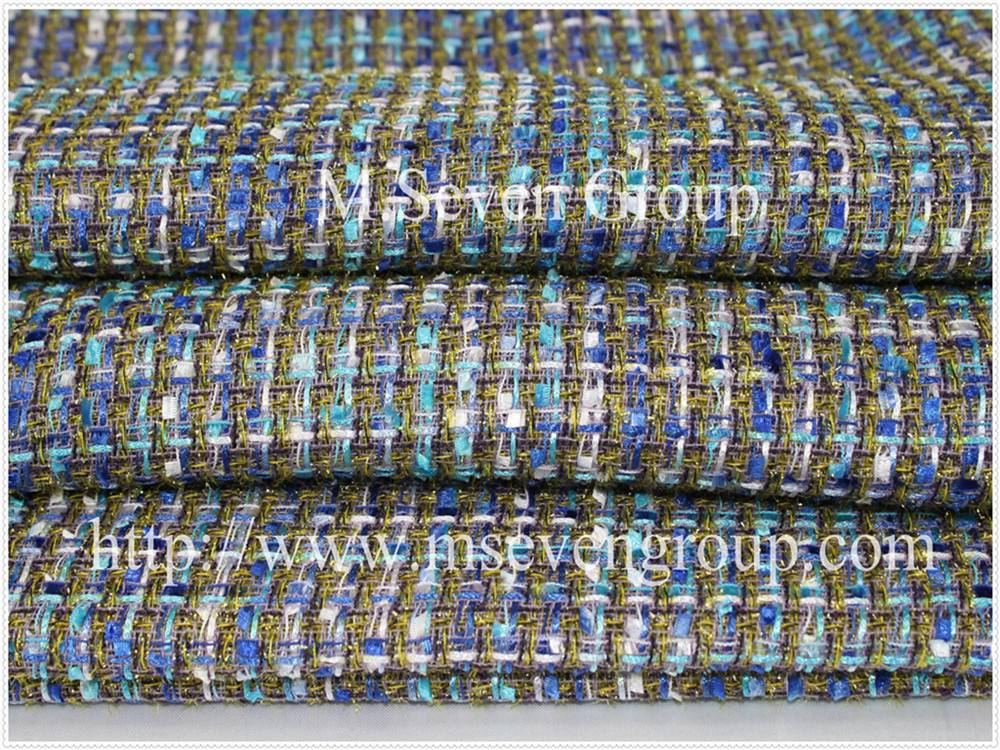 Cotton polyester fancy tweed fabric yarn dyed fabric for tweed suit,Tweed fabric for women wintter c