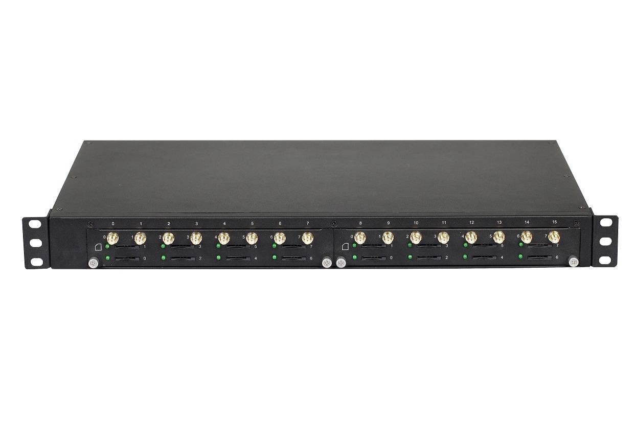 GSM VoIP Gateway with 16SIMs,SMS, 2 LAN 10/100M Base-Tx RJ45, quad band