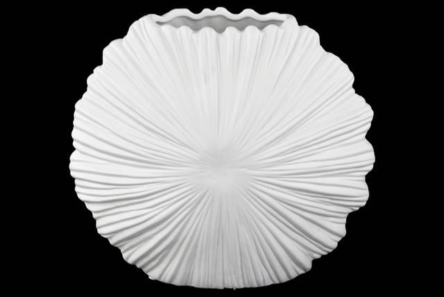 Ceramic Oval Vase with Embossed Sunburst Clam Seashell Design