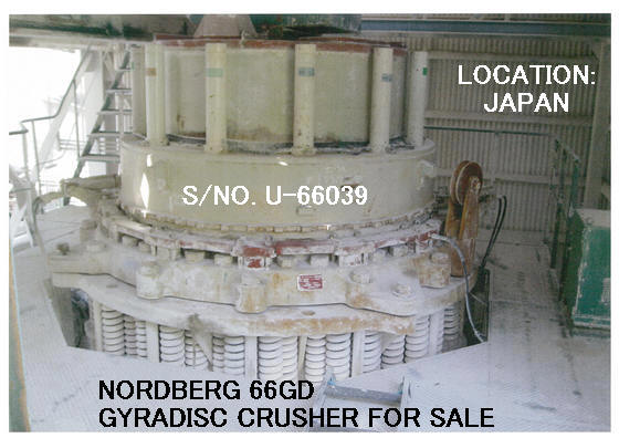 USED UBE-NORDBERG MODEL 66GD GYRADISC CRUSHER WITH HYDRAULIC OIL TANK AND CONTROL PANEL (WITHOUT M