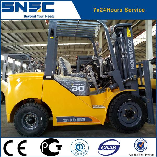 New chinese Zoomlion 3 ton hydraulic automatic diesel forklift truck for sale