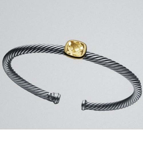 Two Tone Silver Gold 4mm Champagne Citrine Noblesse Bracelet