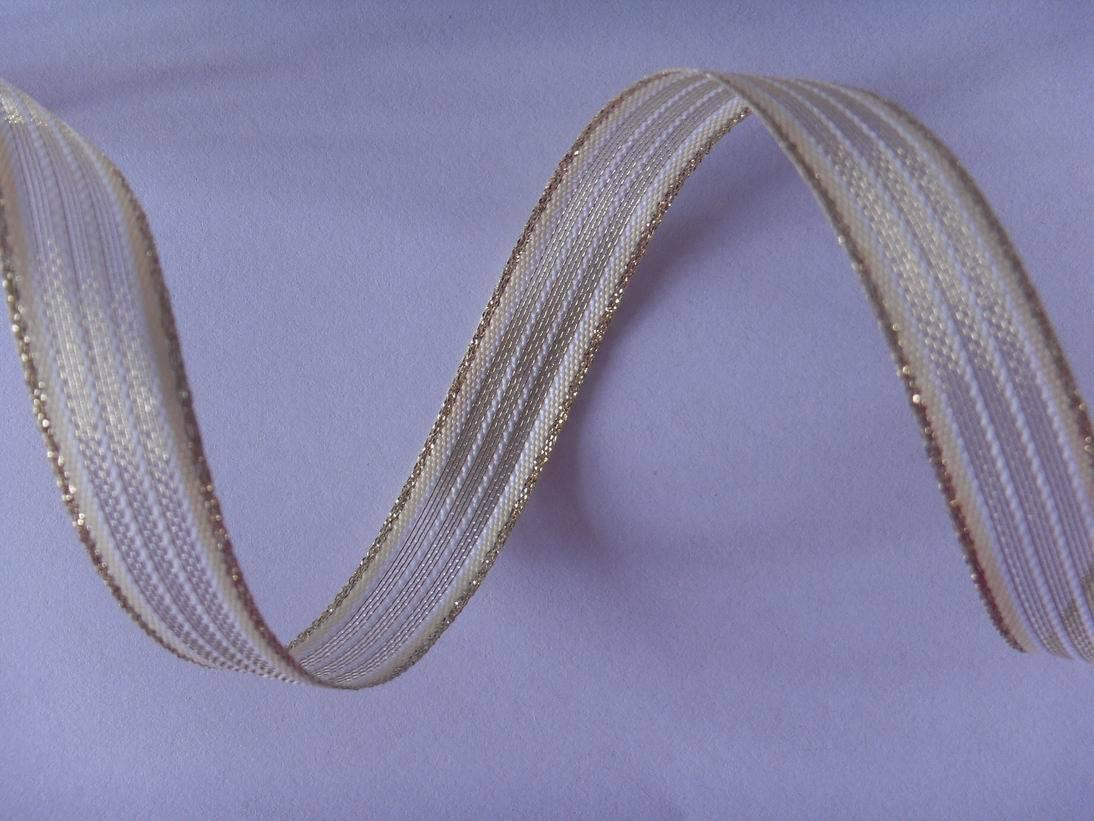 white/cream/gold stripes net ribbon
