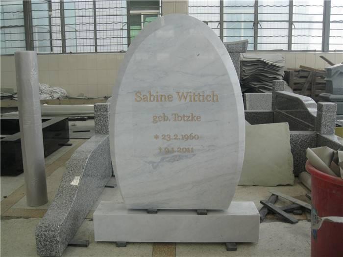 European style white marble headstone