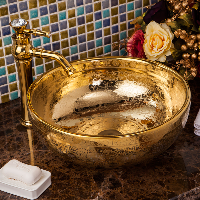 European Style Hotel High-end Classical Bathroom Above Countertop Artistic Ceramic Wash Basin Sinks