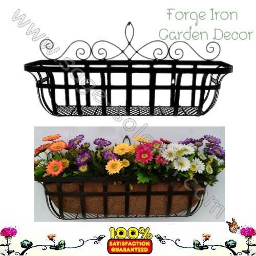 Iron basket planter for window box