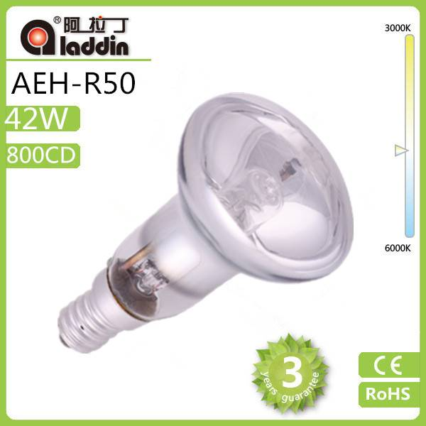 2014 New Arrival Cheap Clear 120/230V tungsten Halogen Lamp 42w R50 E14 Base with good quality