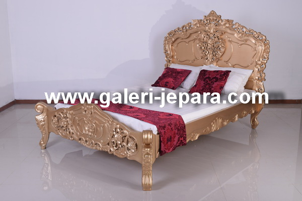 Rococo BED Furniture Mahogany Wood Furniture
