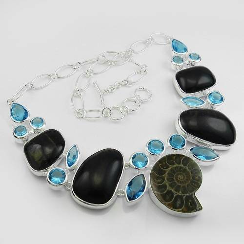 Cheap wholesale jewelry 925 silver natural ammonite necklace