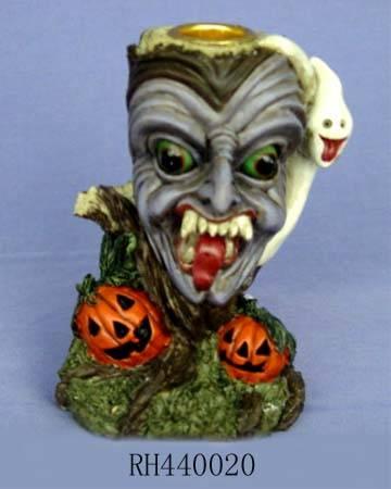 Polyresin Halloween candle holder