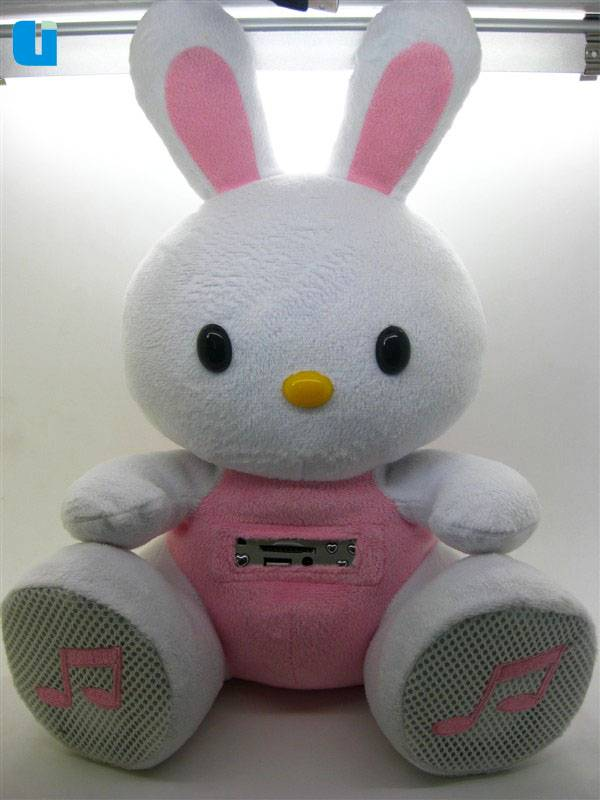 hot selling promotion gift white rabit TF card doll speaker