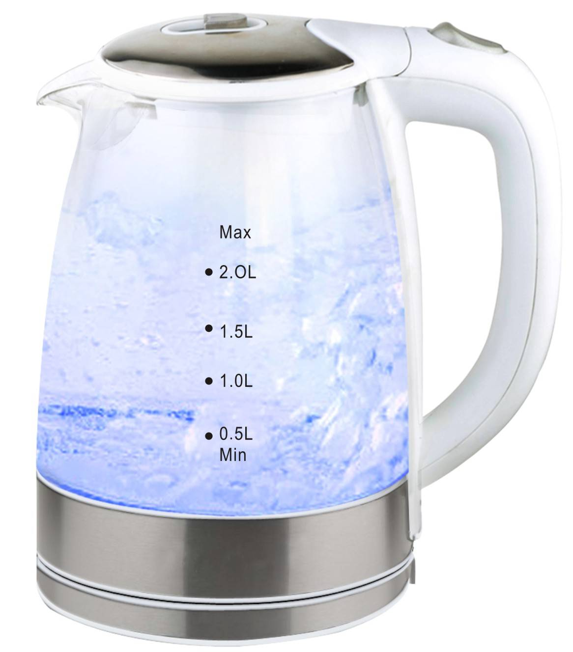 New 2.0 Liter Electric& Pyrex Glass Water Kettle (Blue LED-light)