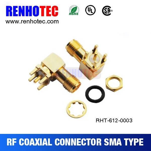 SMA Female Right Angle PCB Mount RF Connector