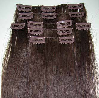 100% Human hair remy straight Clips in Hair Extensions