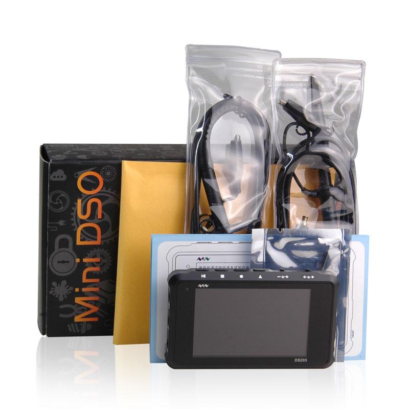 Pocket-sized Handheld Digital Storage Oscilloscope DS203 with black metal Cortex M3 CPU 8M Hz