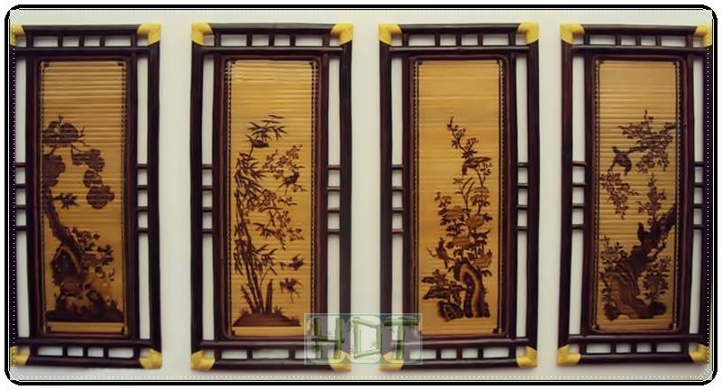 Shaving Bamboo Painting (Four types of Flowers Artwork)_ This Is Not Painted