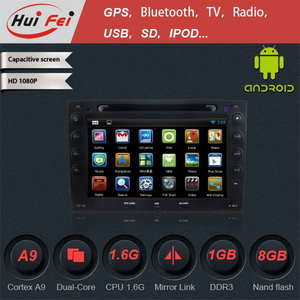 Huifei stereo touch Screen in Car CD DVD audio Player in china with Android 4.2.2 Operation system