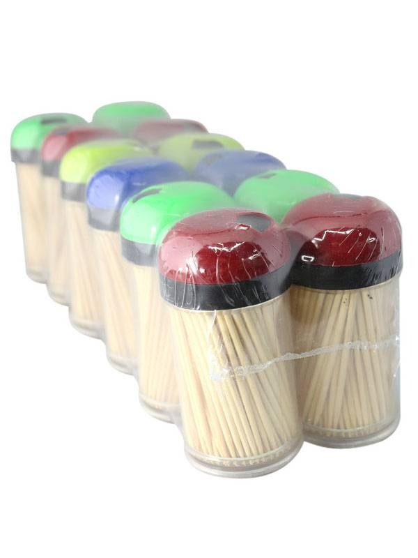 Toothpicks bamboo wooden stick rotary cover container cocktail cherry olive pick