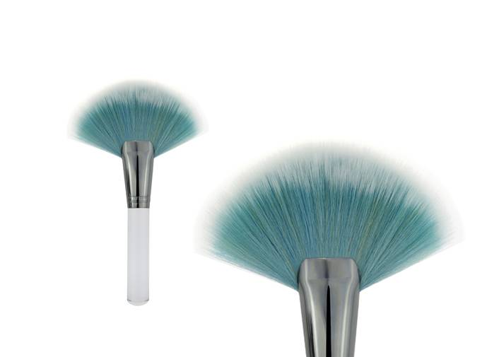 Fan Shaped Contour Blush Brush Synthetic Hair Transparent Handle Makeup Brush