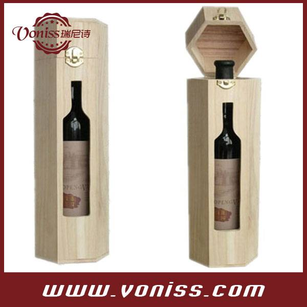 Diamond Shape Single Wine Bottle Case Holder Wine Wooden Box With Window, Wine Display Box Bag