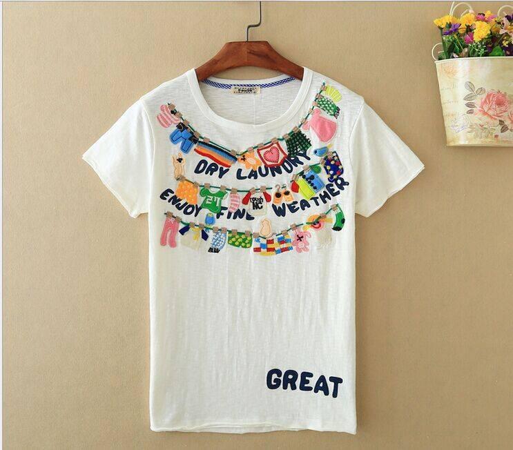 2015 New Lady Clothesline Short SleeveT-Shirt