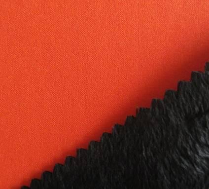 150D plain mechanical strectch fabric+tpu+short velvet