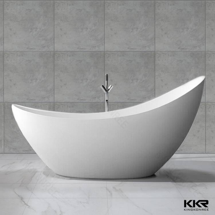 Moon shape freestanding deep soaking acylic bathtub