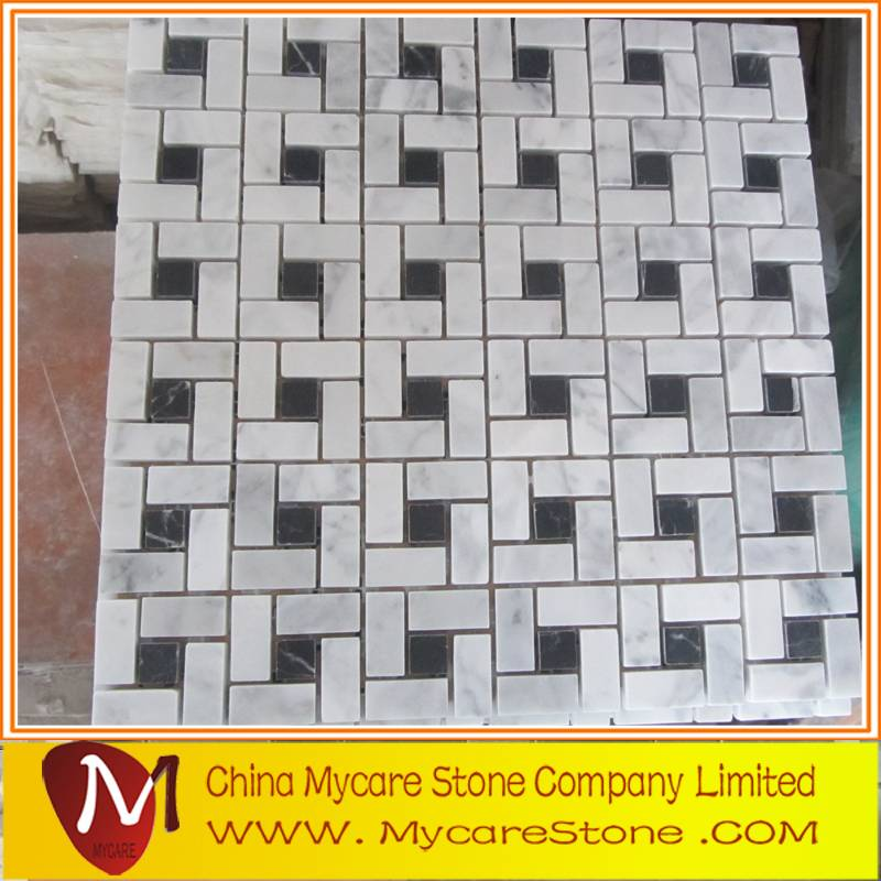 2015 fashionable marble mosaic tiles on mesh for wall decoration
