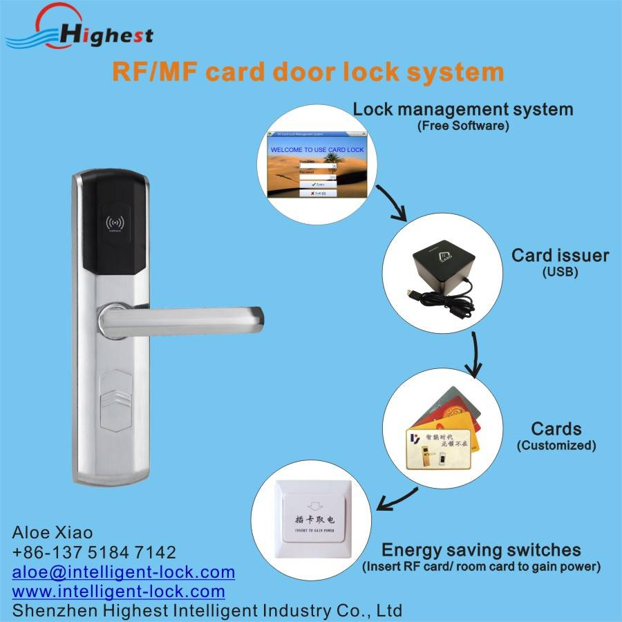 RX1098E-Y Mifare hotel card door lock with system