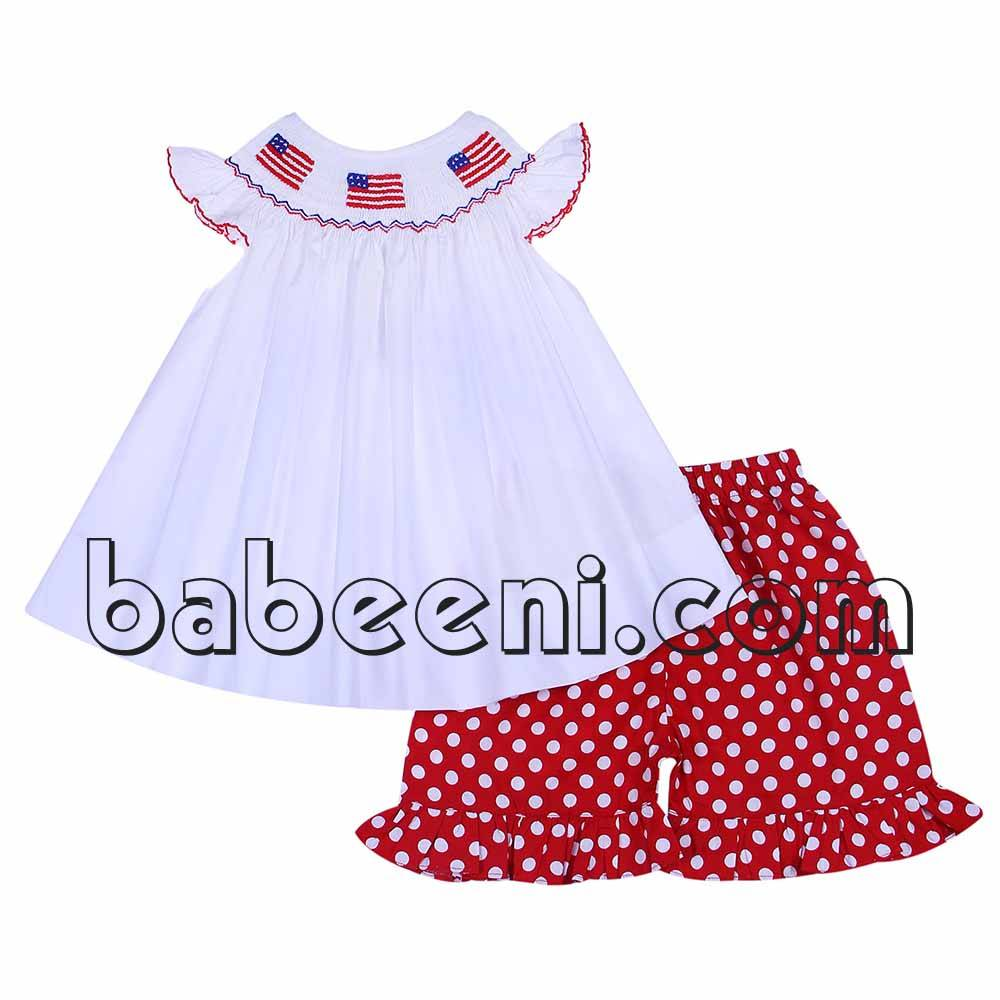 Beautiful American flags smocked girl outfit - BB596
