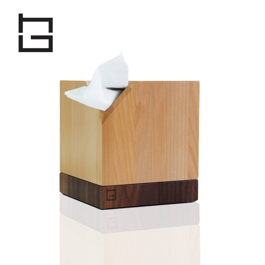 HG hghouseware H18051 roll type table tissue holder box seat type walnut base maple body