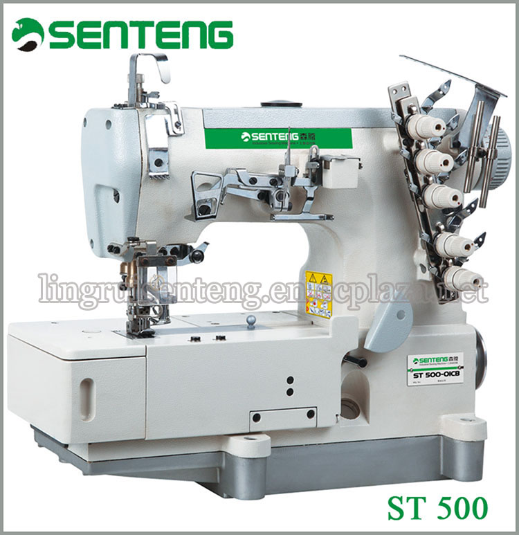 ST 500 high speed flat bed interlock sewing machine with automatic cutting t-shirt sewing machine