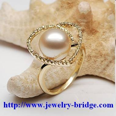 South Sea Golden Pearl Rings Yellow Gold Diamonds Handmade Jewelry  Adjustable Size