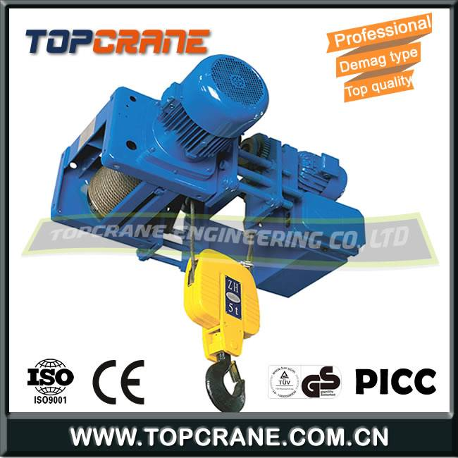 Demag Low Headroom Electric Wire Rope Hoist With Trolley For single Girder Crane