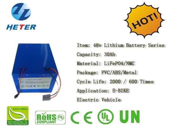 48v30Ah E-Bike Lithium Battery; EV/Scooter/Moped Battery; LiFePO4/NMC Battery Series; 48v Li-ion Bat