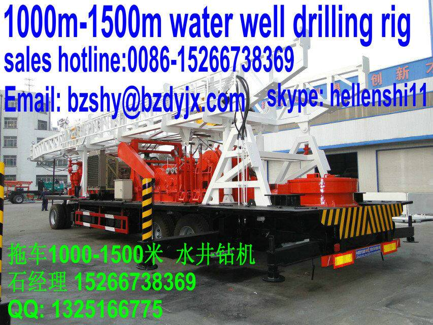 1000m water well drilling rig in trailer mounted