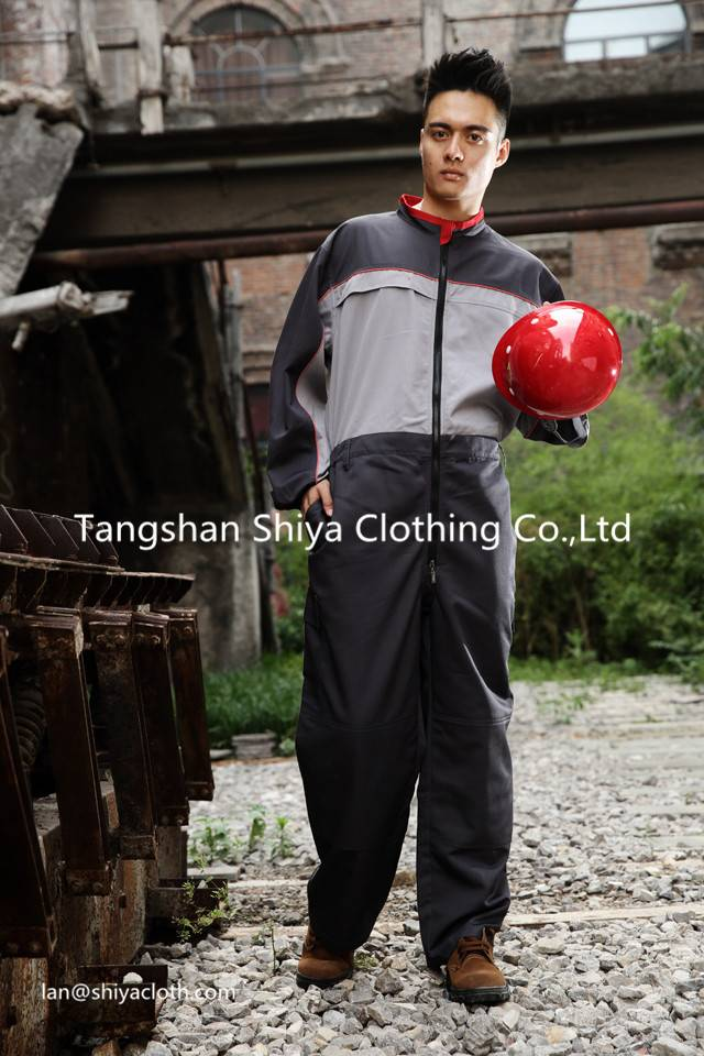 Dark gray polyester and cotton work coverall