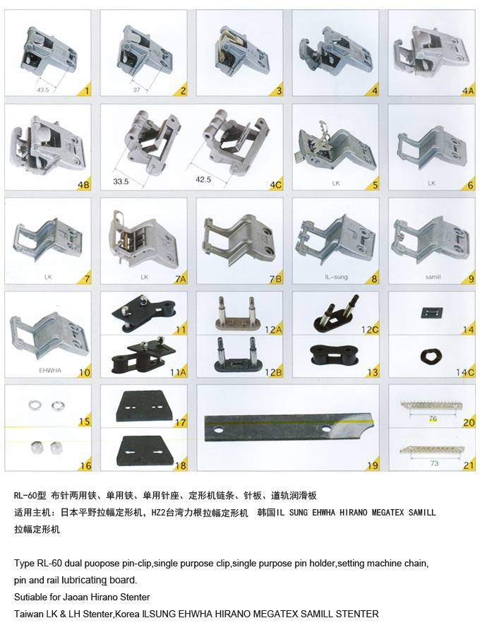 spare parts for stenter machine