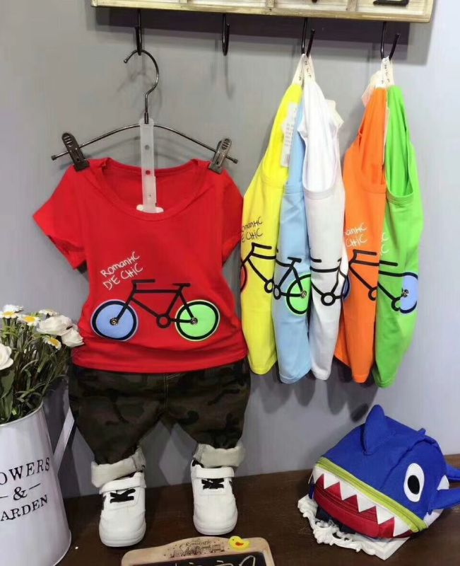 New Fashion Children Kids Clothing OEM Stock Printed T shirt