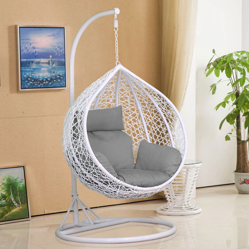 new style outdoor garden use pe rattan furniture patio round hanging egg-shaped swing chair